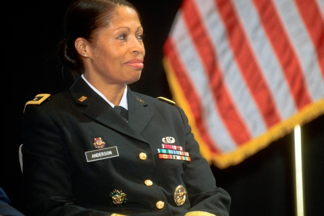 Maj. Gen. Marcia Anderson, representing the Army Reserve on behalf of its chief, participates in the Reserve chiefs panel at the Reserve Officers Association National Security Symposium, Washington, D.C., Aug. 9, 2013.