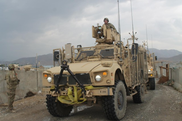 Soldiers from Distribution Platoon, Forward Support Company E, 703rd Brigade Support Battalion, 4th Infantry Brigade Combat Team, 3rd Infantry Division, attached to 3rd Battalion, 15th Infantry Regiment, 4th IBCT, return from a successful supply mission in Wardak Province, Afghanistan, Aug. 13, 2013. Re-supply and logistic missions are essential to sustain Soldiers at remote combat outposts as U.S. forces partner with Afghan forces to eliminate the enemies of Afghanistan.
