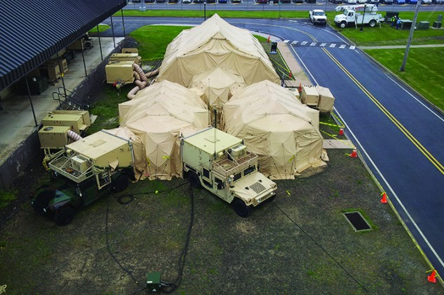 A Tactical Operations Center (TOC) setup at Tobyhanna Army Depot is used to teach Field Service Representatives (FSR) the complexities of their job.