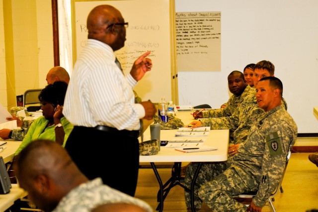 Soldiers and civilians from the 25th Infantry Division and other units on Hawaii learn about the victim rights during an 80-hour Sexual Harassment and Assault Response Prevention certification course on Wheeler Army Airfield, Hawaii, Aug. 13.