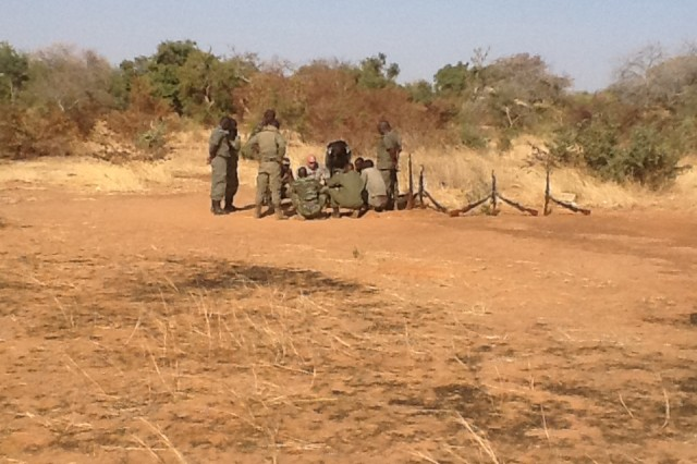 USASATMO Soldiers instructed Burkina Faso troops, shown on reconnaissance and surveillance operations earlier this year. Training foreign militaries in their own countries requires adjustments and flexibility, which USASATMO Soldiers demonstrated when real-time events along the Burkina Faso border with Mali changed during the seven-week instruction period.