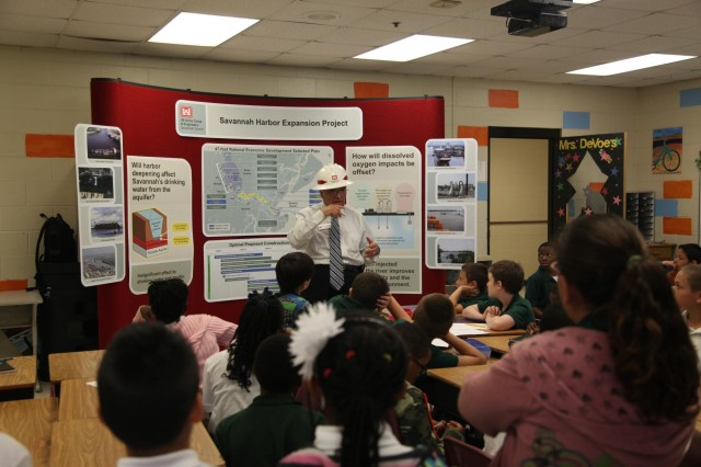 Billy Birdwell, senior public affairs specialist with the  U.S. Army Corps of Engineers Savannah District, talks with students about the Savannah Harbor Expansion Project (SHEP) at Gould Elementary School, Aug. 27. The presentation was part of the school's special six-week unit of study focusing on the harbor deepening.