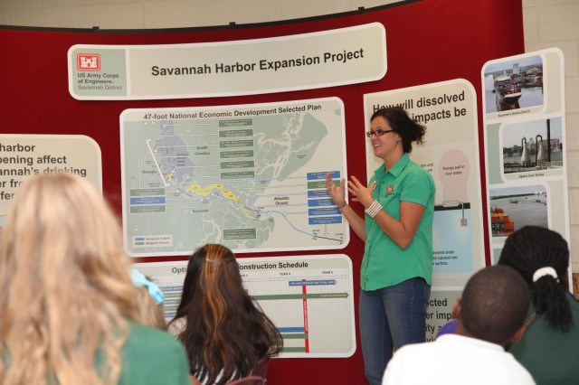 Tracy Robillard, public affairs specialist with the  U.S. Army Corps of Engineers Savannah District, talks with students about the Savannah Harbor Expansion Project (SHEP) at Gould Elementary School, Aug. 27. The presentation was part of the school's special six-week unit of study focusing on the harbor deepening.