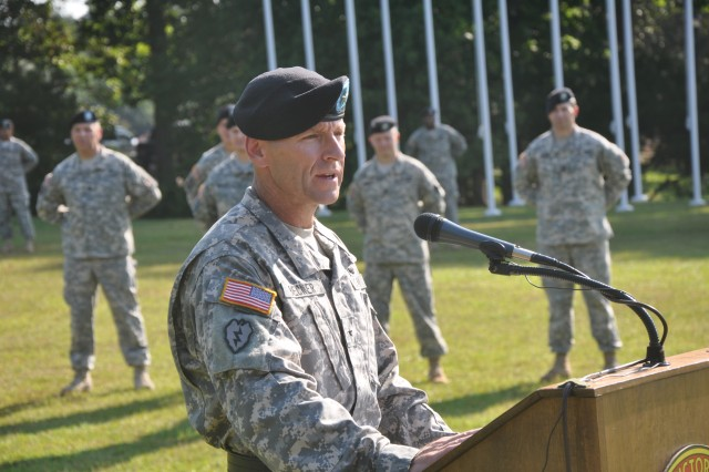 Brig. Gen. Bradley Becker addresses the gathering at the Officers' Club at the close of Tuesday's Change of Command ceremony.