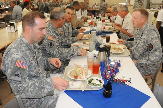 Col. Stuart J. McRae (right), Fort Rucker garrison commander, shares a meal with other senior leaders at the Soldier Appreciation Meal  Aug. 22. at Bldg. 5914.