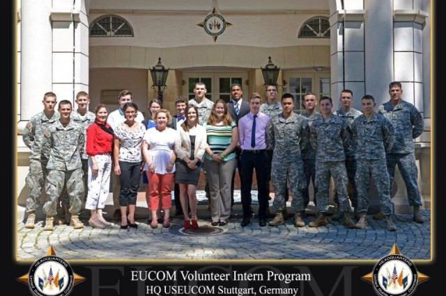 Cadets posed with the rest of the summer interns for a EUCOM Intern picture.