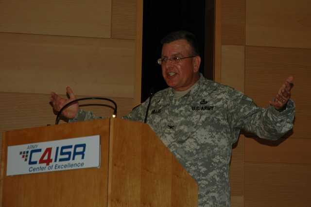 U.S. Army Test and Evaluation Command Chaplain (Col.) David Hillis speaks at the C4ISR Prayer Luncheon held in the Myer Auditorium Aug. 21. Hillis focused on how to remain resilient during difficult times, like furloughs and sequestration.  He said people will find hope and strength if they turn their troubles to God.