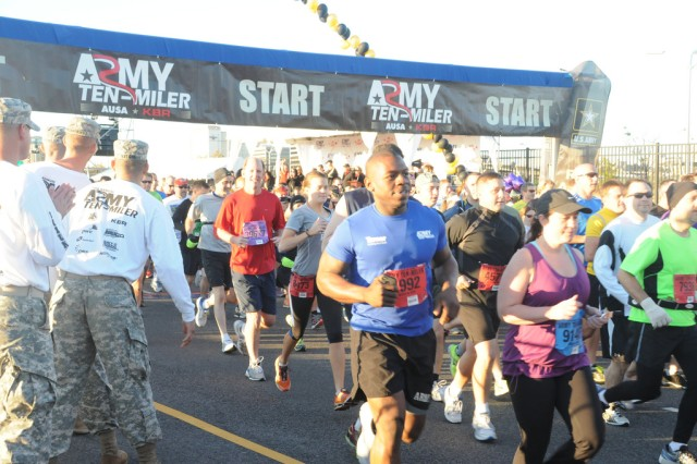 The race begins for thousands of runners at the U.S. Army Military District of Washington's 28th annual Army Ten-Miler Race, beginning in front of the Pentagon, Oct. 21, 2012.