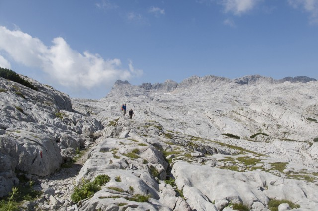 From left to right: Jeremy Buddemeier and Jeff Carson boulder over seven kilometers of whitewashed rock during day two of the hike.