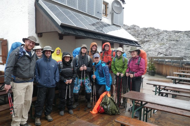 Our motley crew gears up for a rain-drenched hike on day three. From left: Steve Derr, Meghan Hurley, Eric Davis, Bianca Davis, Tammie Pech, Jeremy Buddemeier, Jeff Carson, John Macaras (in front), Michael Kreis, Molly Hayden and Kathy Adyt.