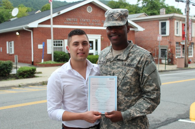 Pvt. Etan S. Patterson, 25, from Utica, N.Y., and his spouse, Ryan, were married Sept. 3, 2013, in Highland Falls. (Portions of this image have been digitally blurred to obscure personal details)