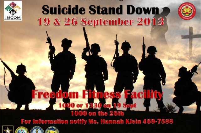 USAG Bamberg holds two Suicide Stand Down days at the garrison's Freedom Fitness Facility. The first day, Sept. 19, will be held at 10 a.m. and 1:30 p.m. The second day, Sept. 26, will be held at 10 a.m. To learn more, call 469-7588.