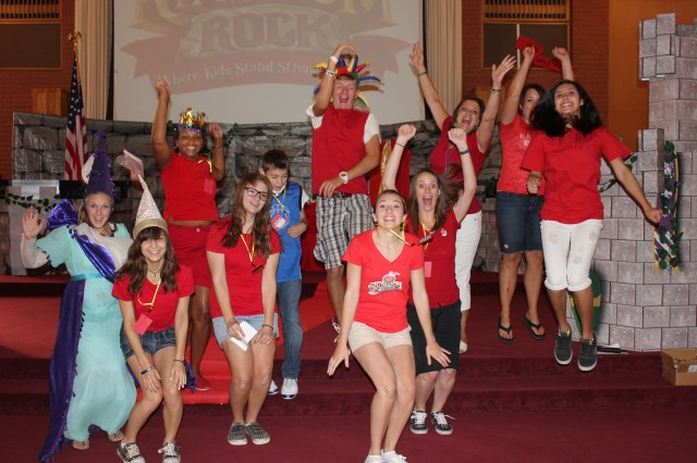 Vacation Bible School students and volunteers sing joyfully for parents, families and friends at its Aug. 2 Fanfare Finale held at the Fort Irwin's Center Chapel.