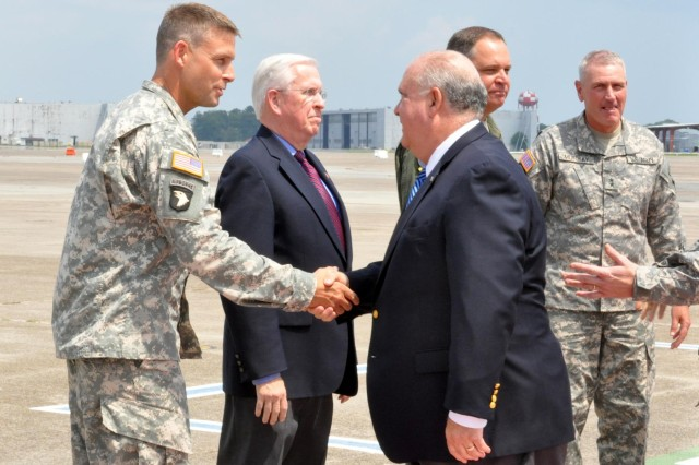 Under Secretary of the Army Dr. Joseph W. Westphal shakes hands with Col. Thomas Tickner, commander of the U.S. Army Corps of Engineers Savannah District, upon arriving at Hunter Army Airfield, Sept. 4, 2013. Tickner and his staff briefed Westphal on the Savannah Harbor Expansion Project, followed by a press conference and tour at the Savannah Port, in Georgia.