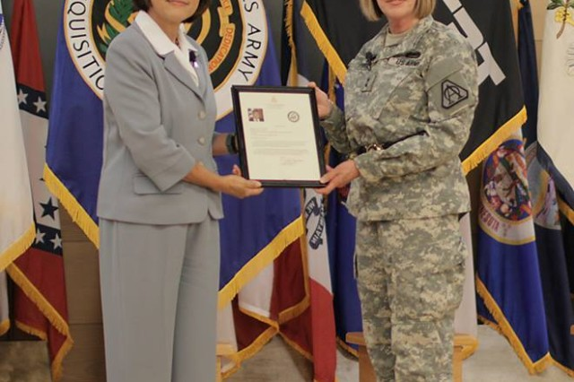 (Left to right) The Honorable Heidi Shyu, Army Acquisition Executive and Assistant Secretary of the Army for Acquisition, Logistics and Technology, hosted the retirement ceremony for Maj. Gen. N. Lee S. Price, former Program Executive Officer for Command, Control and Communications-Tactical (right).