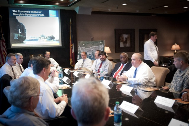 Under Secretary of the Army Joseph W. Westphal visits the Port of Savannah, Ga. (Garden City Terminal), Sept.4, 2013, to reinforce the importance of the collaboration between the U.S. Army Corps of Engineers (Savannah District) and the Georgia Port authority.