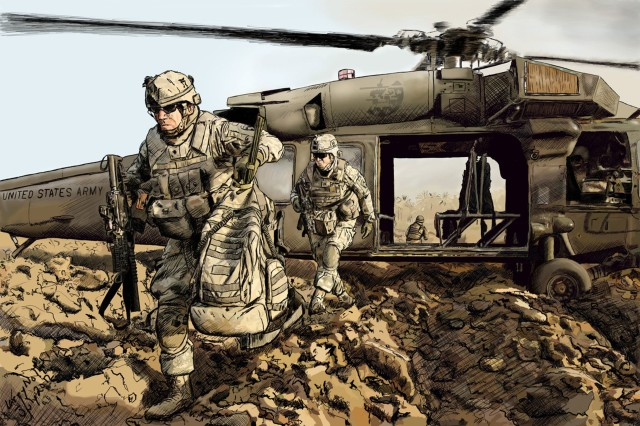 """Larry Noller of Fort Campbell, Ky., takes first place in the accomplished artists' digital art (non-photography) category of the 2013 Army Arts & Crafts Contest with """"Rakkassans Have Arrived."""""""