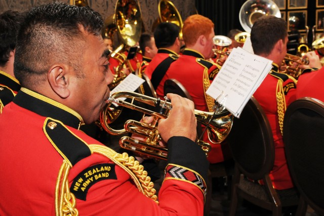"The New Zealand Army band performs during the annual Pacific Armies Management Seminar opening ceremony. The band also performed at the biennial Pacific Armies Chiefs Conference opening ceremony immediately followed the PAMS opening. The U.S. Army and the New Zealand Army are co-hosting PACC/PAMS at the Langham Hotel in Auckland, New Zealand, Sept. 9-11, 2013.  The theme for the conference is, ""The Sum is Greater than the Parts: 21st Century Peace Operations in a United Nations Context""."