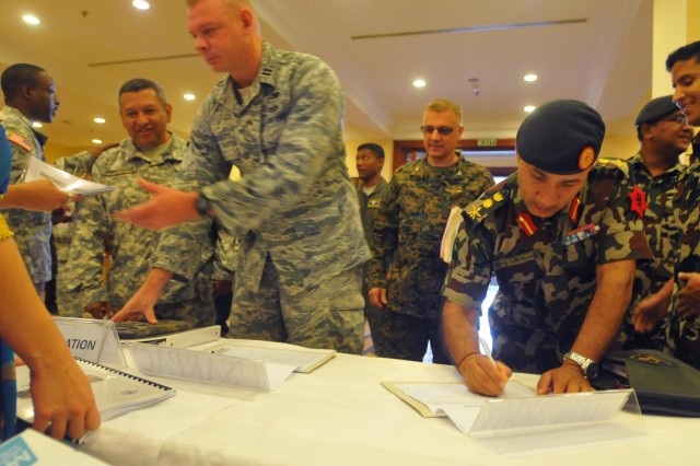The Nepalese Army and U.S. Army Pacific (USARPAC) officially opened the Nepal Pacific Resilience Disaster Response Exercise & Exchange (DREE) during a ceremony Sept. 9, in Kathmandu, Nepal. The DREE will run Sept. 9-12, and is the first in Nepal to include a field training exercise designed to practically apply civil-military disaster preparedness and response initiatives when faced with a massive earthquake scenario.  (U.S. Army photo by Sgt. 1st Class Mary E. Ferguson, 8th Theater Sustainment Command Public Affairs)