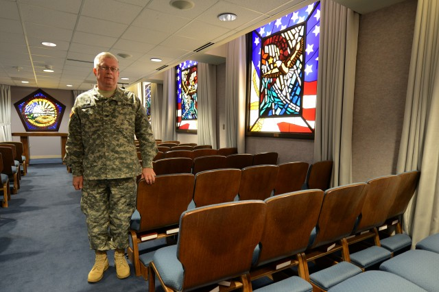 Chaplain (Col.) Thomas C. Waynick, with the Pentagon Chaplain's office, stands in the Pentagon Memorial Chapel, Sept. 9, 2013.