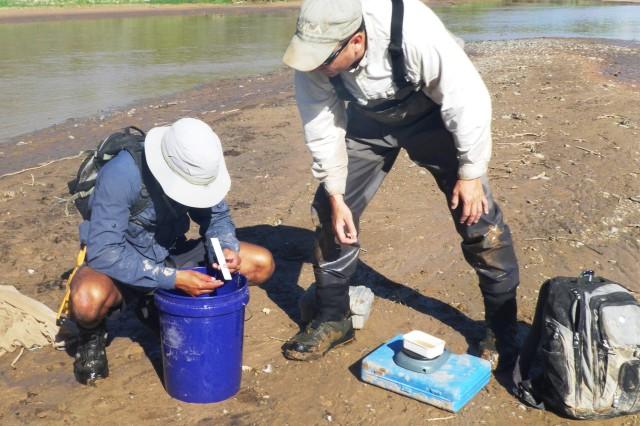 ALBUQUERQUE, N.M., -- Justin Reale (left) and Eric Gonzalez analyze a fish, Aug. 15, 2013.