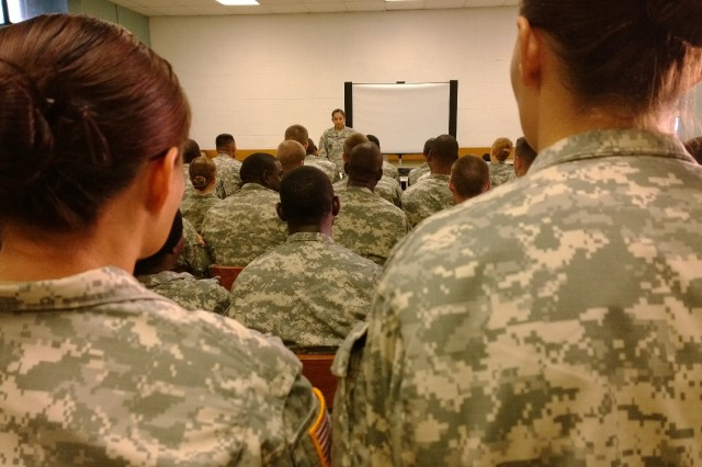 Staff Sgt. Kristen Moreno, master resiliency trainer and essential personnel services NCO for the 8th Theater Sustainment Command, teaches a group of Soldier from the 8th Special Troops Battalion, 8th TSC, in resiliency during the battalion's monthly resiliency training, Sept. 5, at Fort Shafter, Hawaii. (U.S. Army photo by Staff Sgt. Gaelen Lowers, 8th Theater Sustainment Command Public Affairs)