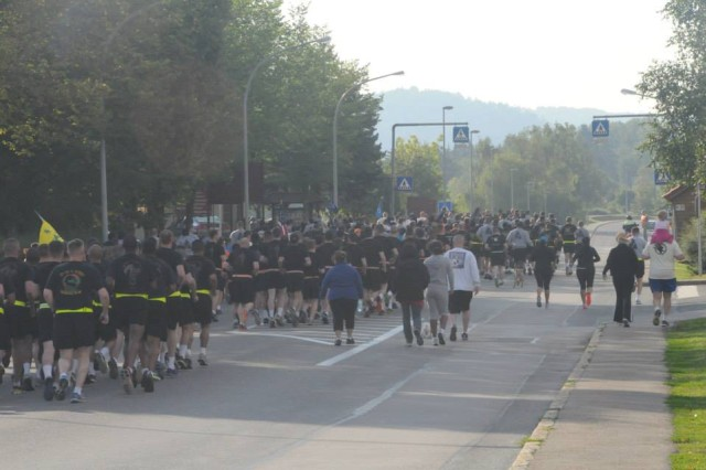 Hundreds of community members participate in the Hohenfels Military Community's Run to Remember, Sept. 11, 2013.