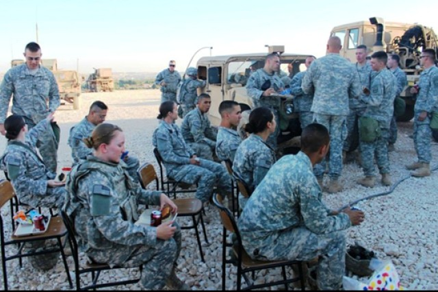 Soldiers enjoy a morale booster evening in a break area they created at their deployed site in Turkey.
