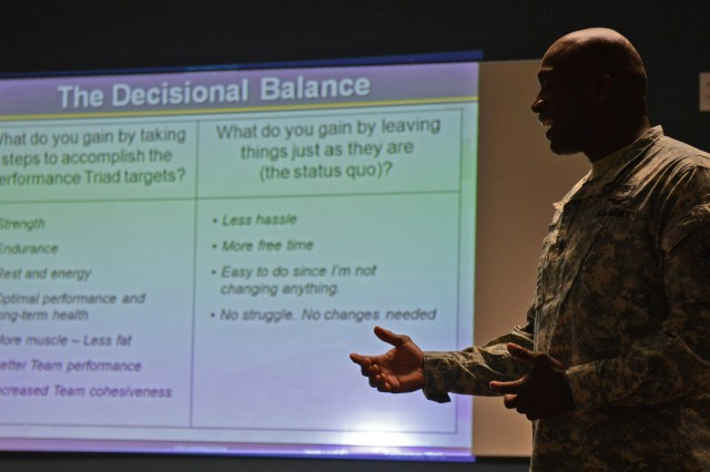 Sgt. Maj. Michel Pigford, a Performance Triad instructor from the Army Surgeon General's Office, leads squad leaders at Joint Base Lewis-McChord, Wash., in a class on the benefits of sleep, nutrition and activity. The squad leaders, all from 3rd Squadron, 38th Cavalry Regiment, 7th Infantry Division, are participating in a pilot program.