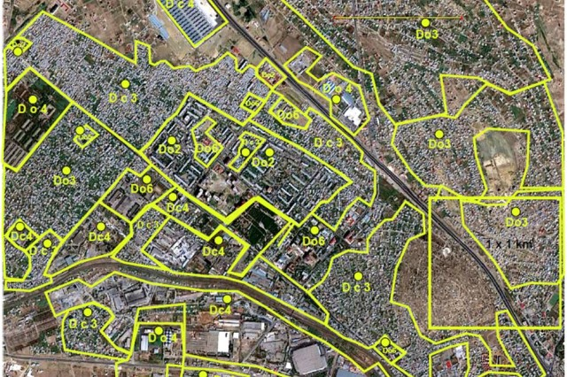 "This is an example of imagery analysis of an urban area. This section of a city is marked with different urban terrain zones. The zones reflect areas with approximately homogeneous urban characteristics "" both morphological and functional aspects of buildings and their settings. This methodology is used in the UTBT to index the listed building types."