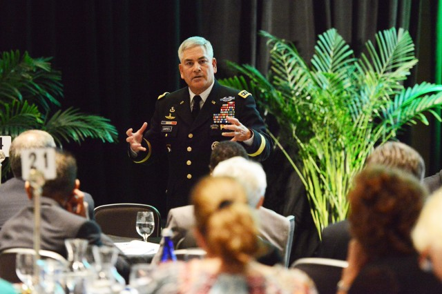 Vice Chief of Staff of the Army Gen. John F. Campbell briefly laid out some of the Army's efforts to bolster resilience in Soldiers and strengthen its behavioral health programs during the 2013 Warrior-Family Symposium, Sept. 12, 2013, in Washington, D.C.