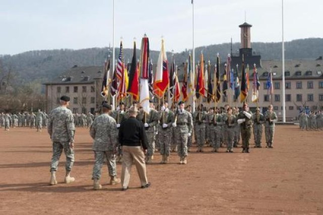 A change of command ceremony at Campbell Barracks in Heidelberg, Germany, is pictured, May 25, 2010. The garrison closed its gates for the last time, Sept. 6, 2013.