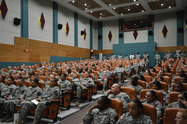 "Camp Casey, South Korea "" Soldiers from 210th Fires Brigade, 2nd Infantry Division, attended the Sex Signals Production Tour at the Camp Casey Theater Sept. 16. Throughout the show the Soldiers were trained and educated on response and prevention of sexual harassment, sexual assault, and gender based misconduct. 210th Fire Bde. goal is to eliminate sexual harassment and sexual assaults by creating a climate that respects the dignity of every member of the Army family. (U.S. Army photo by Staff Sgt. Carlos R. Davis 210th Fires Brigade Public Affairs/Released)."