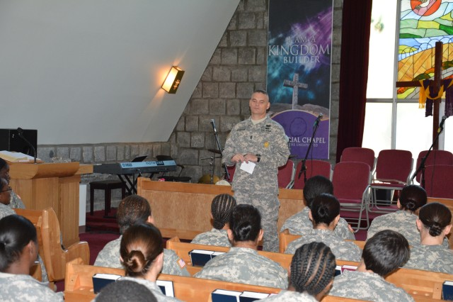 "CAMP CASEY, South Korea "" Command Sgt. Maj. Mark Brinton, 210th Fires Brigade command sergeant major, talks during a censor session for the females Soldiers of the brigade to discuss sexual harassment, sexual assault, equal opportunity, and any other topics or issues they might want to discuss at the Memorial Chapel on Camp Casey Sept. 16. 210th Fire Bde. goal is to eliminate sexual harassment and sexual assaults by creating a climate that respects the dignity of every member of the Army family. (U.S. Army photo by Staff Sgt. Carlos R. Davis 210th Fires Brigade Public Affairs/Released)."