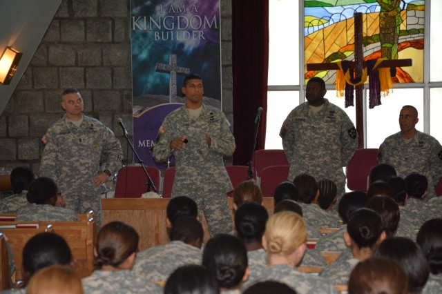 "CAMP CASEY, South Korea "" Master Sgt. Hassan T. Carter, of Corona Queens, N.Y., 210th Fires Brigade Equal Opportunity Advisor, introduces the battalion's representative and informs the Soldiers about the EO program and what is provided for Soldiers during a censor session at the Memorial Chapel on Camp Casey Sept. 16. 210th Fire Bde. goal is to eliminate sexual harassment and sexual assaults by creating a climate that respects the dignity of every member of the Army family. (U.S. Army photos by Staff Sgt. Carlos R. Davis 210th Fires Brigade Public Affairs/Released)."