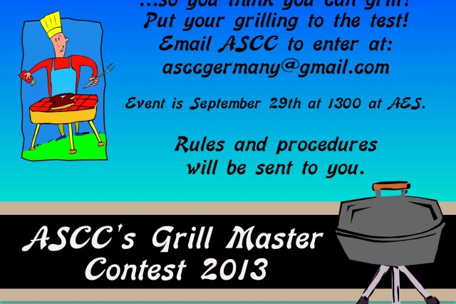 The Ansbach Spouses' and Civilians' Club presents the second annual Cupcake Wars and Grill Master competition at 1 p.m. Sept. 29 at Ansbach Elementary School. Join the event to judge cupcakes and hamburgers and to award best tasting, best presentation and people's choice award. There will be free tasting and voting, raffles, entertainment and more. Entry is $5 per person or $15 for families of four and more. To sign up to compete in the cupcake and hamburger competition, entry fee is $10. Rules and details are available at the Thrift Store. To learn more, visit the Thrift Store or email asccgermany@gmail.com.