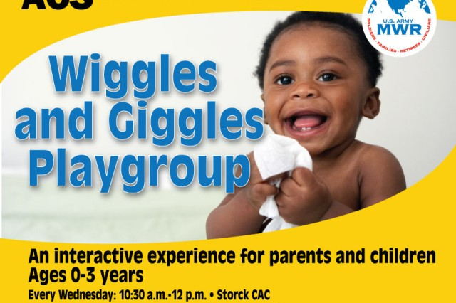 Army Community Service hosts Wiggles and Giggles Playgroup from 10:30 a.m. to noon Wednesdays at Storck Community Activity Center and Thursdays at Katterbach Student Activity Center. This is an interactive experience for parents and their children from infancy to three years old. To learn more or sign up, call 09802-83-2883 or DSN 467-2883.