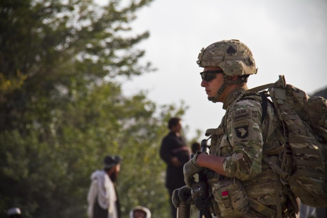 U.S. Army Pfc. Tyler M. Caporale, an indirect fire infantryman with Gunfighter Company, 1st Battalion, 506th Infantry Regiment, 4th Brigade Combat Team, 101st Airborne Division (Air Assault), pulls security for the 1438th Engineer Multi-Role Bridge Company at their build site near the village of Laka Tiza, Afghanistan, Sept. 2, 2013. (U.S. Army photo by Sgt. Justin A. Moeller, 4th Brigade Combat Team Public Affairs)