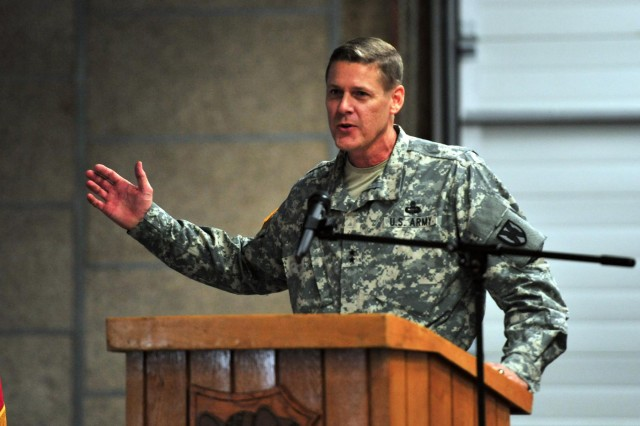Maj. Gen. John R. O'Connor, the commanding general of the 21st Theater Sustainment Command, discusses the many achievements of the 6966th Transportation Truck Terminal during the organization's 60th anniversary ceremony on Rhine Ordnance Barracks Sept. 13.