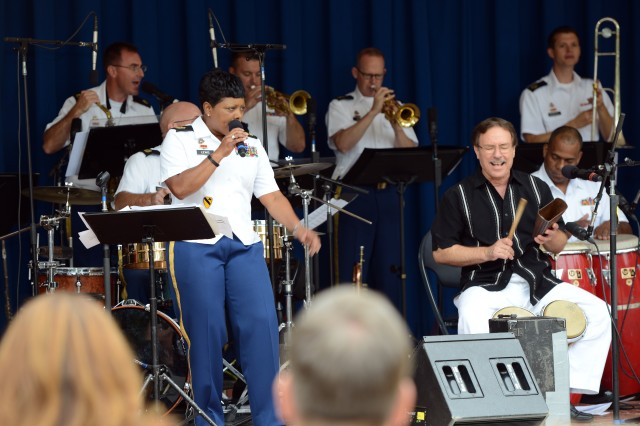 Son Tropical, the Army Field Band's ensemble that specializes in Latin rhythms, performs in the Pentagon courtyard, kicking off the Army's month-long Hispanic Heritage Month observances, Sept. 16, 2013.