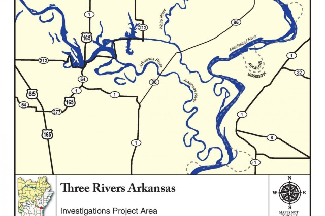 The study area is in three Corps districts (Little Rock, Memphis, and Vicksburg) and two Corps divisions (Southwestern and Mississippi Valley). This area is the starting point for the McClellan-Kerr Arkansas River Navigation System that begins at the mouth of the White River and runs 445 navigable miles to Catoosa, Okla. The watershed of these three rivers is home to the White River National Wildlife Refuge and more than 100,000 acres of critical bottomland hardwoods.