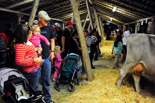 "PRESIDIO OF MONTEREY, Calif. "" A military family admires cattle on display as part of the fair's live-animal exhibitions."