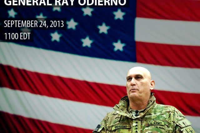U.S. Army Chief of Staff Gen. Ray Odierno will host his first virtual town hall via Facebook on September 24th, 2013 from 1100-1200 Eastern Daylight Time.