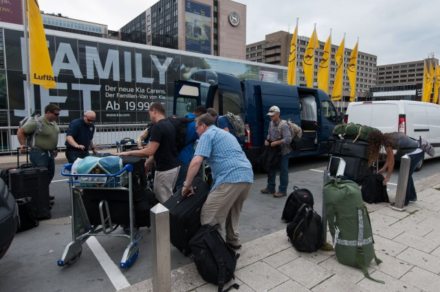 Members of the Forward Engineer Support Team-Advanced from U.S. Army Corps of Engineers Europe District get set to fly out of Frankfurt Airport on Aug. 31 for a six-month deployment to Jordan, where they'll serve as part of a special U.S. task force.