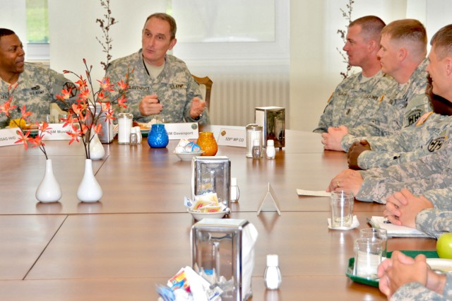 U.S. Army Europe Command Sgt. Maj. David Davenport fields questions from Wiesbaden-area first sergeants and fellow noncommissioned officers during a luncheon at the Strong Teams Cafe Sept. 12.