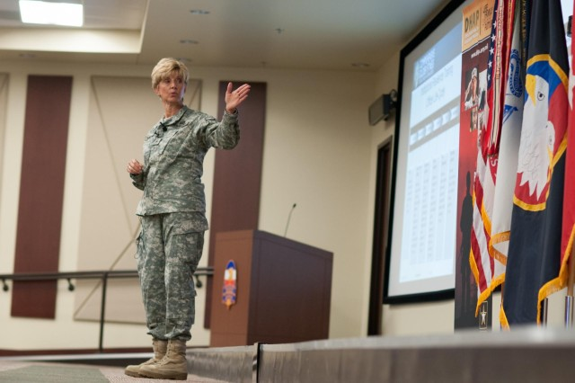U.S. Army Reserve Brig. Gen. Margaret Wilmoth, the dean and professor of the Byrdine F. Lewis School of Nursing and Health Professions at Georgia State University, speaks to the audience during the Deployment Health Assessment Program leader conference in the U.S. Army Reserve Command headquarters at Fort Bragg, N.C., Sept. 12, 2013.