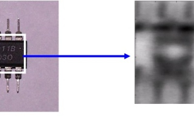 (Fig. 5) Terahertz image through the plastic cover of an integrated circuit chip showing the structural integrity of the internal electronics (courtesy of X.C. Zhang, Rensselaer Polytechnic Institute)