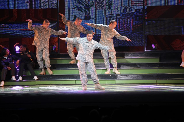 "Performers of the 2013 Soldier Show return to Fort Sam Houston Theatre to the delight of the Joint Base San Antonio military community. Thirty-four Soldiers performed in the 2012 "" 2013 Ready and Resilient Soldier Show for Army garrisons across the nation to inspire the men and women of the armed forces."