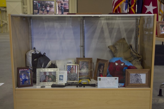 Memorabilia from the family and loved ons of Spc. Christopher Fox, who was killed in action in Adamiyah, Iraq on Spetember 29, 2008 and the Tactical equipment Maintenance Facility in Millington, Tennessee was renamed in his honor on September 14.