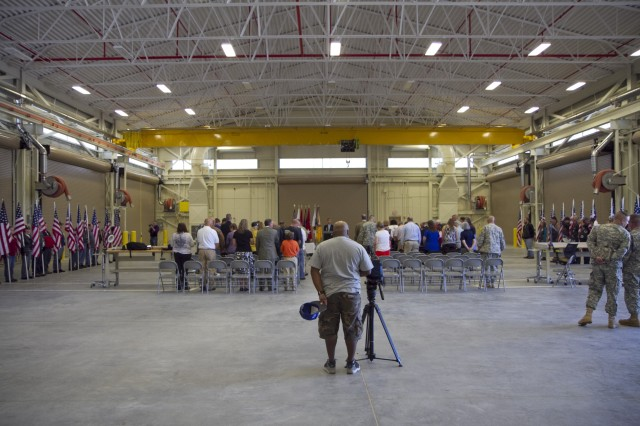 The memorialization ceremony for the Spc. Christopher Fox Tactical Equipment Maintenance Facility on September 14 in Millington, Tenn. Lining both sides are members of the Patriot Guard Riders.